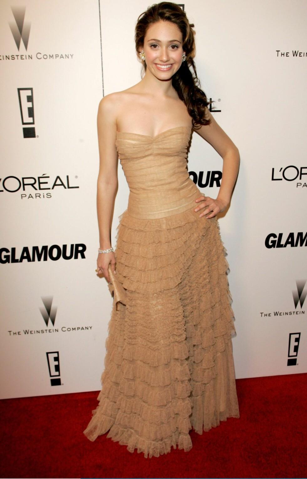Skuespilleren Emmy Rossum i ton-i-ton.