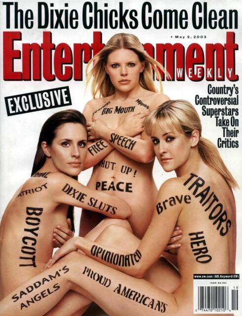 Da Dixie Chicks kritiserte Bush, brøt helvetet løs, noe de illustrerer på denne magasinforsiden.