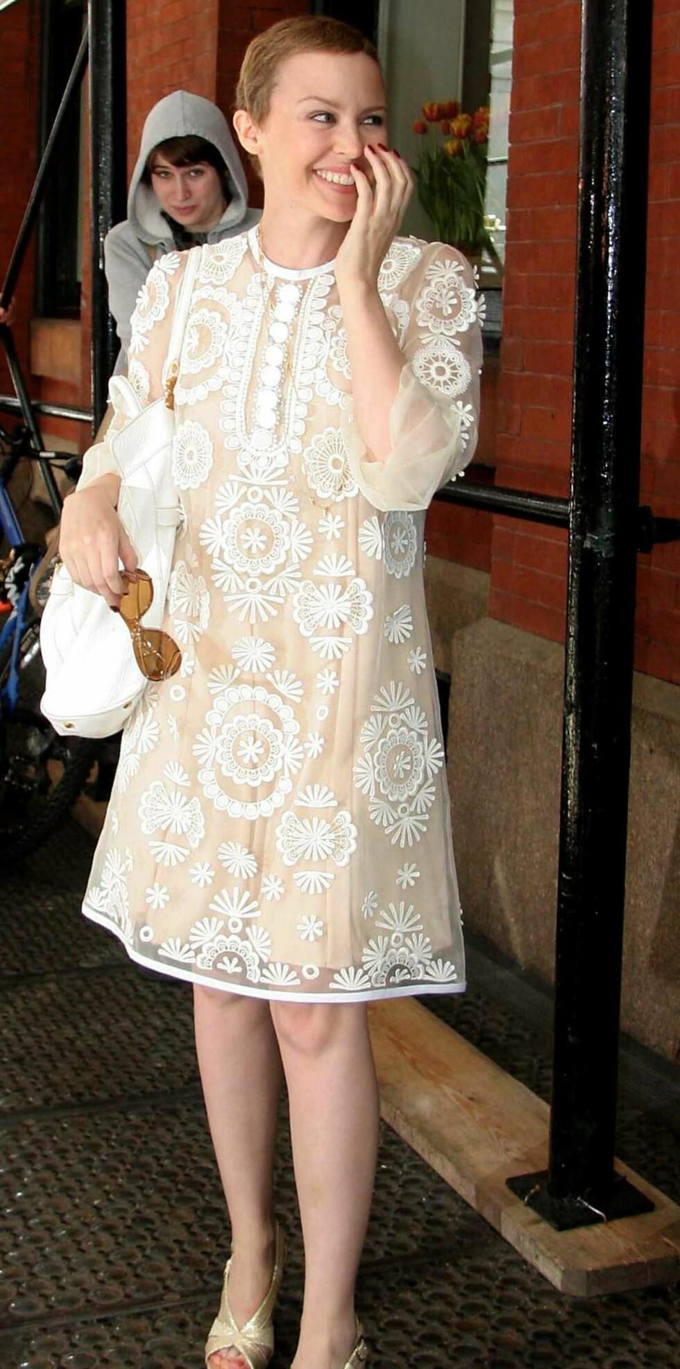 Kylie er et av verdens største stilikon. Her i kjole fra Miu Miu.