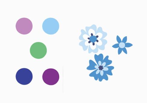 Fra venstre «Polka Dots», diameter 8,2 cm og «Blue Posey» (kr 130 for 25 stk., begge fra Inreda.com).