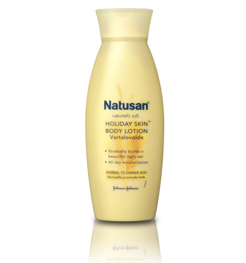 Bodylotion med lett selvbruningseffekt, Natusan Holiday Skin (kr 50/200 ml).