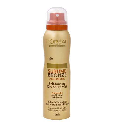 Selvbruningsspray fra L'Oréal Paris. Sublime Bronze Automatic (kr 140/200 ml).