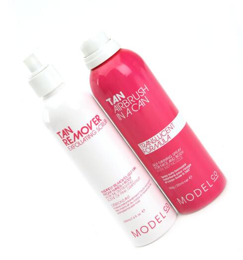 Salvbruningsspray, Airbrush in a Can (kr 335/150 gr) og peeling Tan Remover (kr 225/250 ml) fra ModelCo.