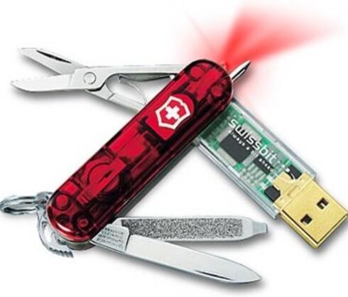 Swiss Army-kniv med innebygget USB-minne - tøffere blir det ikke på tur. ($69.90 for 256 MB, fra thinkgeek.com)