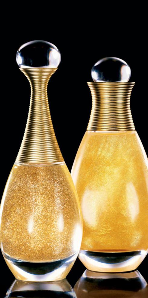 J'adore Shimmering Dry Perfumed Body oil (100ml/kr 335)og eau de parfum (50ml/kr 620).