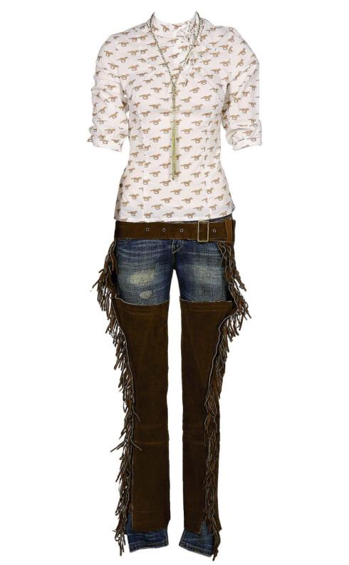 Stilig cowboyantrekk med gullsnor rundt halsen (kr 160, Accessorize), skjorte med hestetrykk (kr 1200, Jenny Hellstrøm),jeans (kr 1200, Levi's)og chaps i skinn med frynser(kr 1200, P.G. Løwenborg).