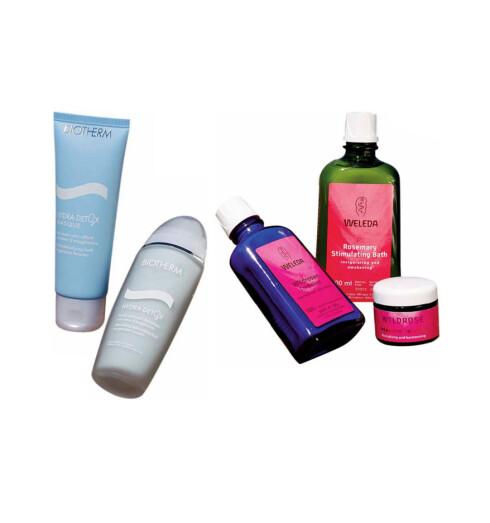 Biotherm detoxmaske hjelper huden med å fjerne avfallsstoffer.Biotherm detoxkrem gir tørr og matt hud gløden tilbake.  Weleda har rikt utvalg av deilige ansikts- og badeoljer som virker oppfriskende,stimulerende eller beroligende.Naturproduktene er fri for kunstige tilsetningsstoffer og parfyme.Fås i helsekostforretninger.