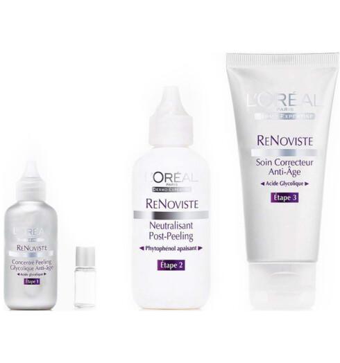 PROFF HJEMMEPEELING. L'Oréal ReNoviste er et tretrinnsanti-age kjemisk peelingsett med en anti-age glykolsyre, ennøytraliserende etterbehandling og en anti-age fuktighetskrem.Settet koster kr 200, og bruksanvisning følger med pakken.