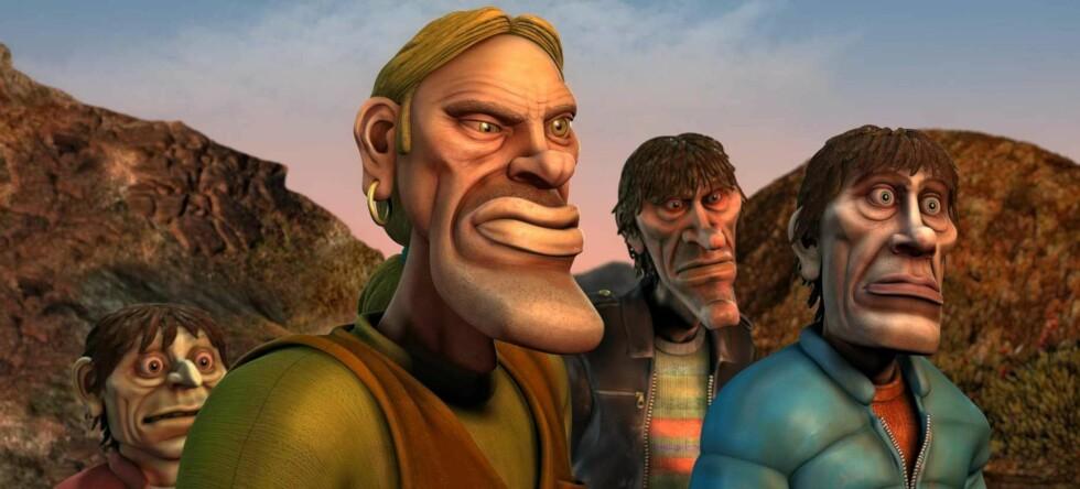 Ut på tur, aldri sur: Kælle, Roy Arni, Odd og Geir leter etter den narkomane elefanten Jimmy. Foto: Storm Studio