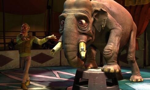 Sirkuselefanten Jimmy lever et ulykkelig liv i manesjen, preget av dop og nerver.