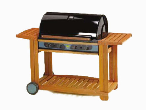 «Sunshine Legend-serien» har både stekeplate og grill. Denne modellen har understell i tre (Sunwind.no).