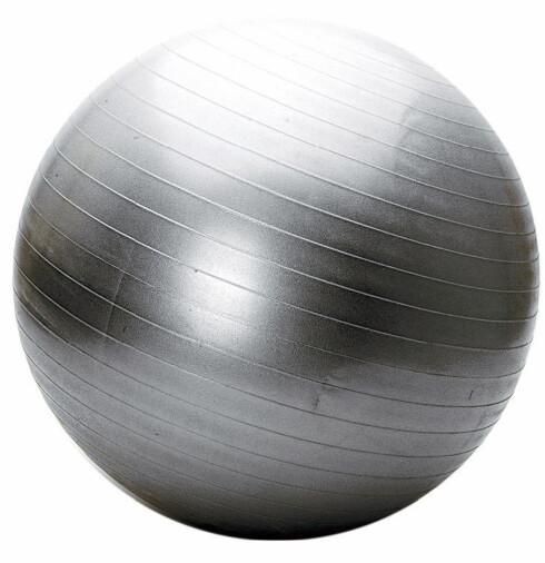 Stor treningsball. Prisen ligger på cirka kr 300, og kan kjøpes i de fleste sportsbutikker.