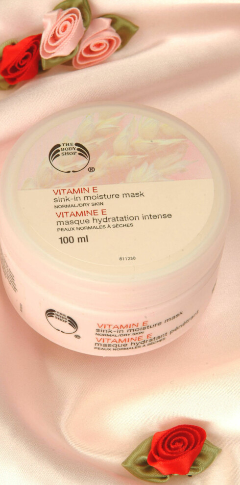 Vitamin E Sink-in moisture mask, ansiktsmaske fra The Body Shop (kr 130).