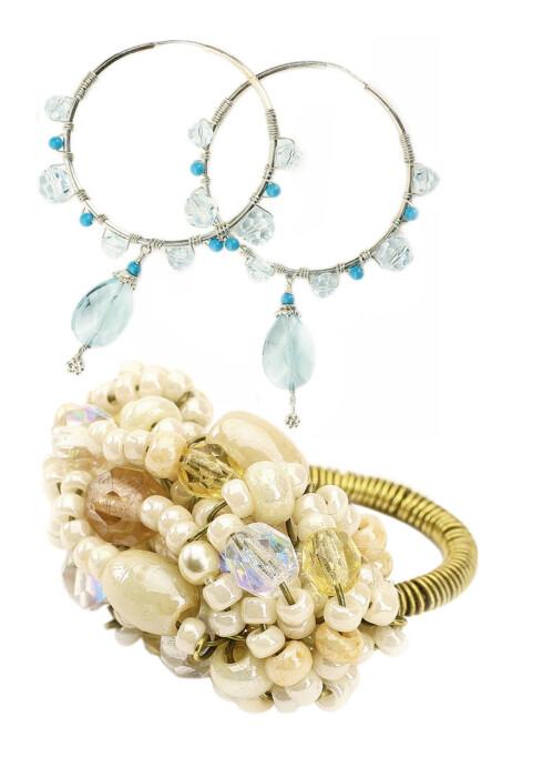 Øredobber (kr 750, Suzanna G) og håndlaget perlering (kr 500, Daydreams and pearls) gjør Cathrine festfin.