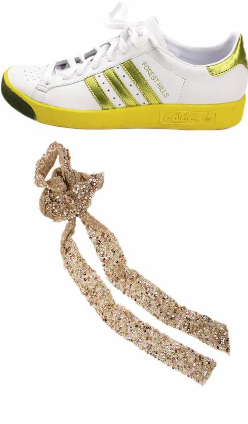 Behagelige, men kule sko på jobb(kr 1100, Adidas/Sole Service).  Lekkert gullsjal(kr 130, Accessorize).