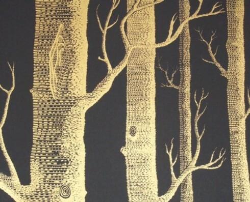 Mørketid. Tapet i svart og gull tar skogen inn i stua (kr 800 pr. rull, Cole & Son).