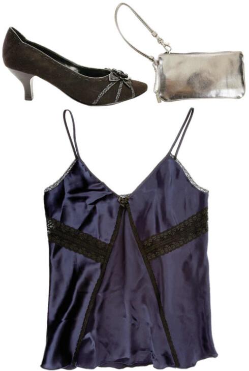 Svarte sko som gjør et hverdagsantrekk mer pyntet (kr 600, MarcBohan/Din Sko). I den sølvfargede pungen kan hun få med seg små, men viktige ting (kr 150, Kookaï). Blå topp som er fin å ha inne i jakker og kardiganer (kr 600, Kookaï).
