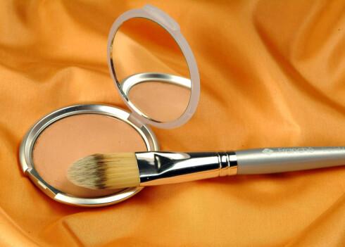 Bruk en pensel til å tilføre den siste finishen med shimmer. Bruk den enten som highlight eller på skinnbeina. Shimmer pudder (kroner 339,-) og kost (kroner 499,-kroner). Alt fra Franche.