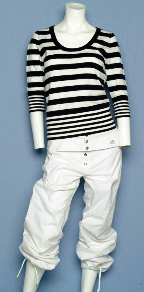 Genser (kr 150, H&M) bukse (kr 600, Adidas)