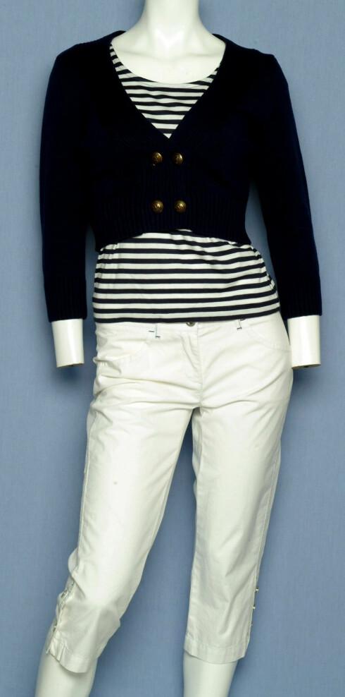 genser (kr 200, H&M), T-skjorte (kr 450, Marc o Polo), knebukse (kr 900, Marc o Polo)