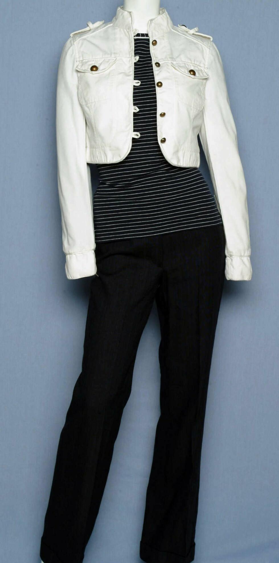Jakke (kr 300, Cubus), T- skjorte (kr 250, Vivekes), bukse (kr 250, H&M)