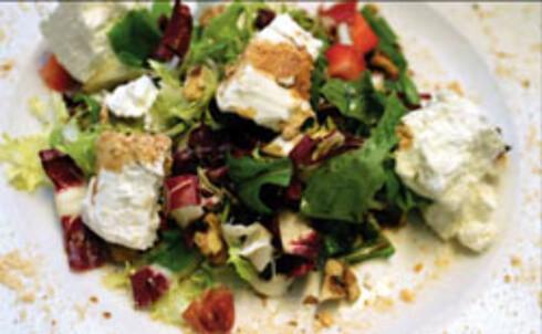 Salat med ost og jordbær
