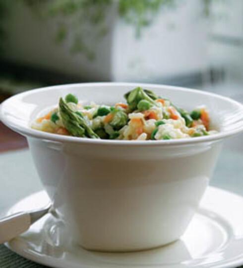 Erte- og røkt laks-risotto
