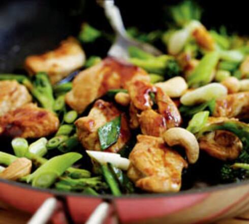 Kylling og grønt i wok