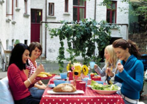 Fire gode naboer, godt brød, salat og varme på grillen. Det blir det bakgårdsfest av. Prikkete plastduk (kr 300, Bolina).