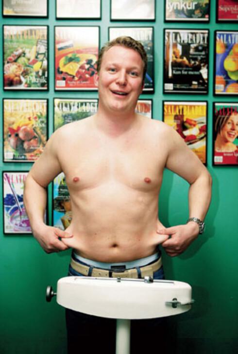 – Sommeren 2005 skal jeg se bra ut i T-skjorte! sier Jørgen Sandberg (30), som går på Grete Roede-kurs og trener for å gå ned fem kilo.
