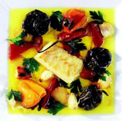Klippfisk og pepperfrukt i olje
