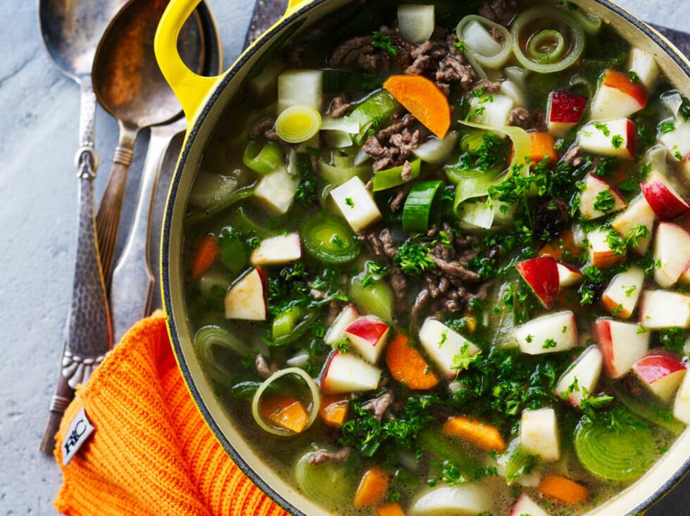 Kjøttsuppe med vintergrønnsaker