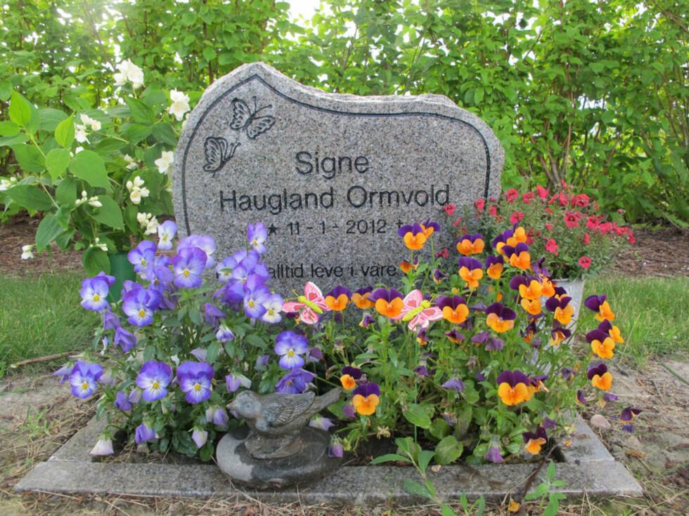 Hvilested: Julie spaserer ofte innom graven til vesle Signe, og setter ut blomster og lys.