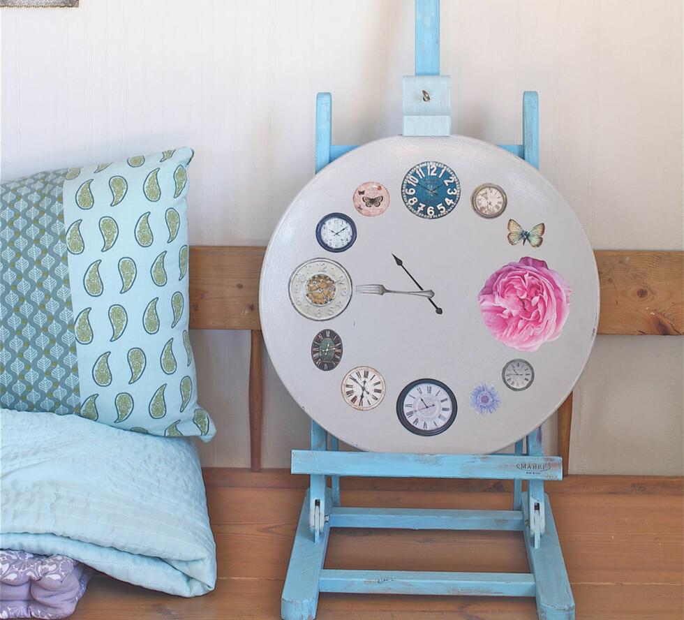 Stoppet tiden: Dette fatet var blant det første Julie viste fram på bloggen sin. Ved hjelp av maling, motiver fra interiørblader og decoupage-lakk ble det en klokke som viser tidspunktet Signe ble født – og døde.