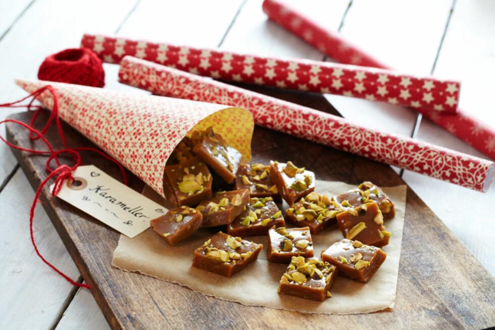 Karameller med  ingefær og nøtter