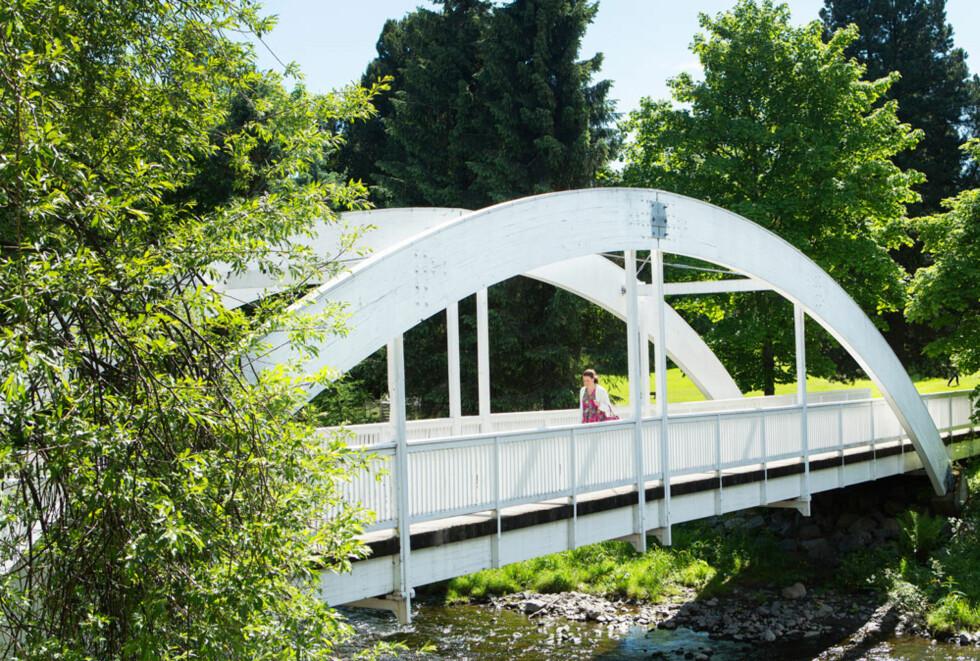Den hvite bro: Broa fører til Gjøvik gård, og et flott friluftsområde.