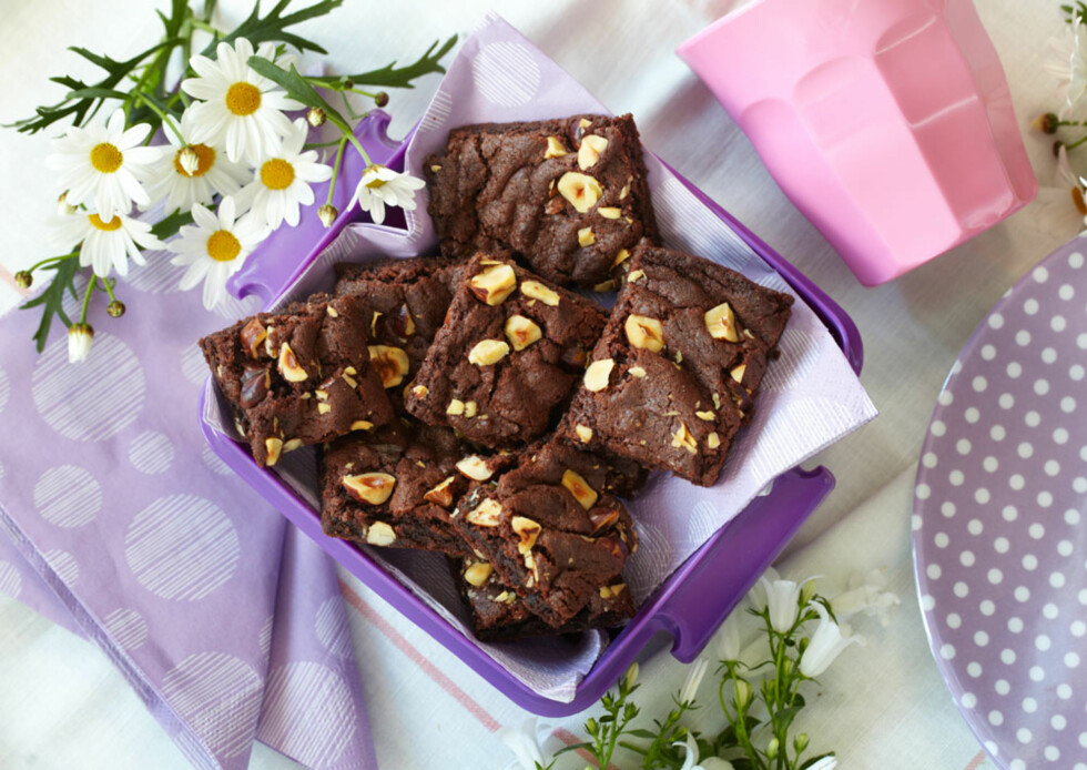 Sjokoladeruter med hasselnøtter