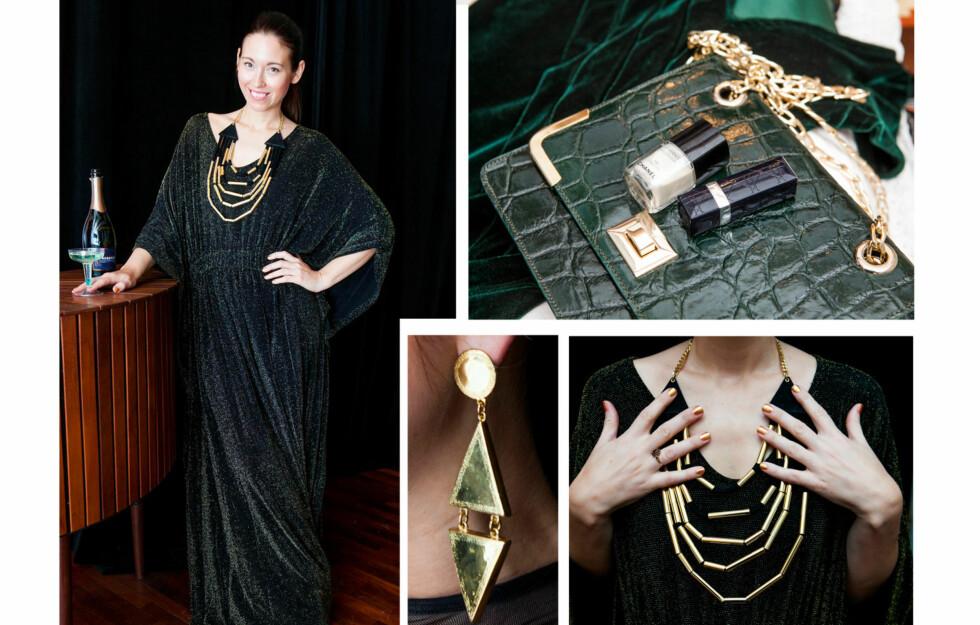 VÅG LITT EKSTRA: Designer Nina Jarebrink anbefaler deg å satse på skikkelig høy glam-faktor, med mye gull og glitter, på nyttårsaften i år.  Foto: Per Ervland