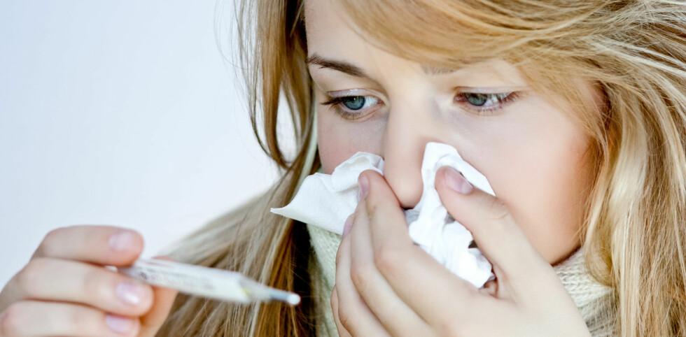 <strong>PÅ VEI:</strong> Influensabølgen er snart over oss. Se hvordan du fort blir frisk igjen! Foto: Colourbox