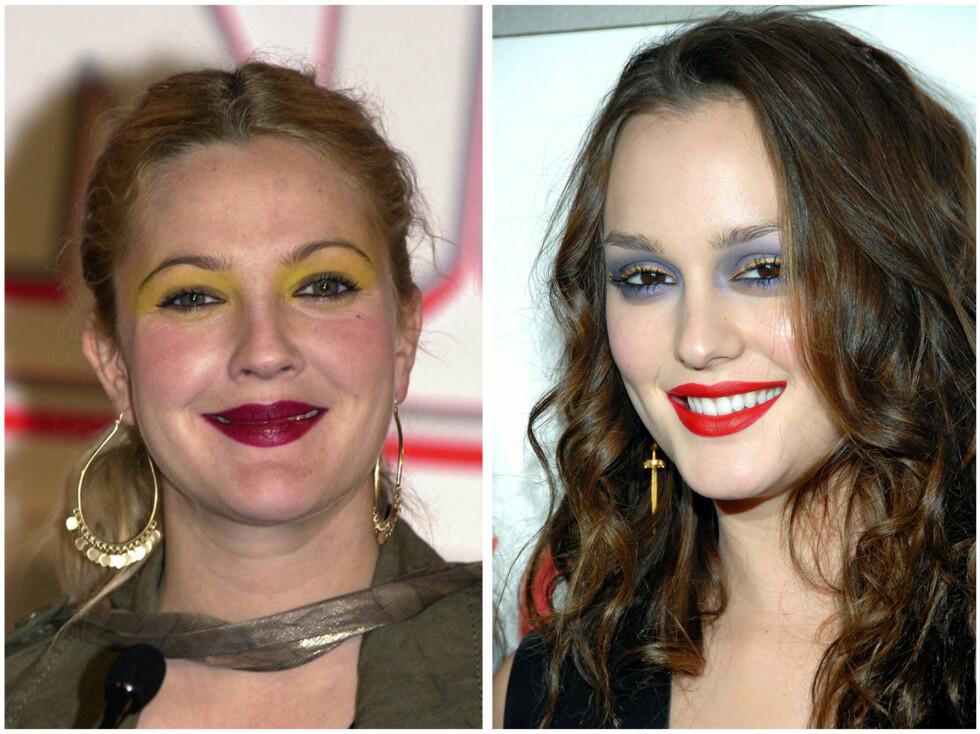 FOR MYE: Drew Barrymore kler ikke gul øyenskygge, i tillegg til at den burgunderfargen ikke passer sammen. Leighton Meester burde ha droppet den vampyrrøde leppestiften og latt skyggen få skinne alene. Foto: All Over Press