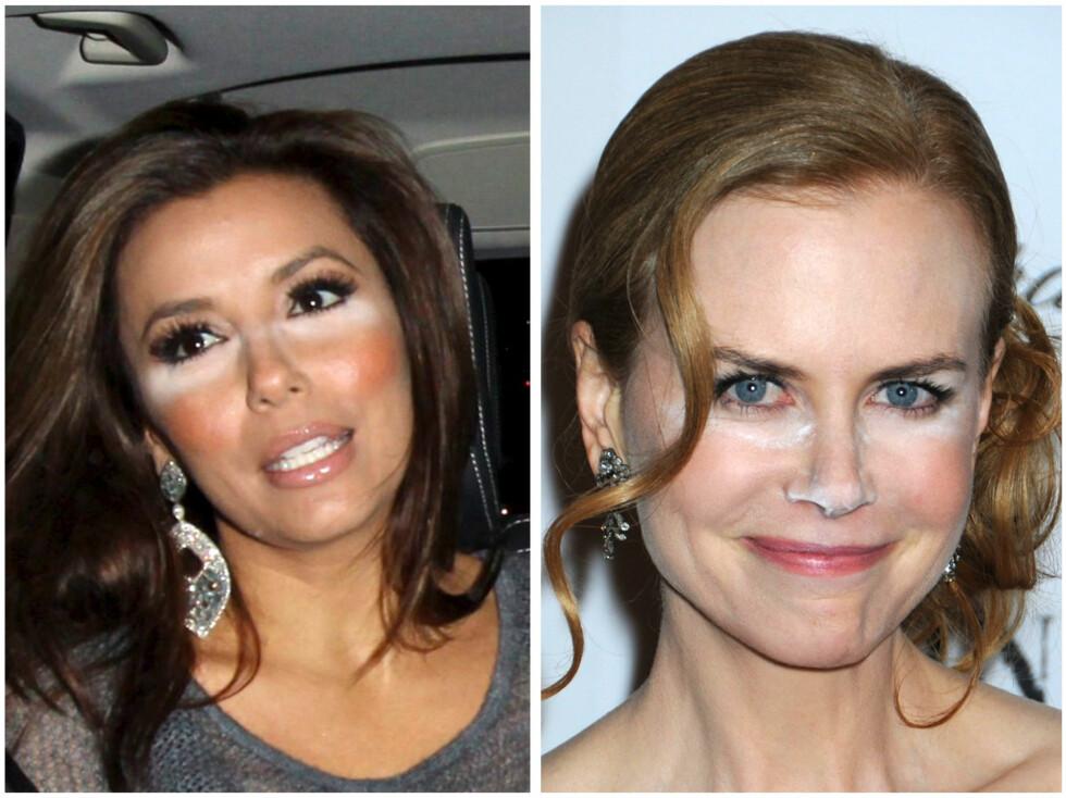 CONCEALER-BOM: Eva Longoria og Nicole Kidman har tydeligvis ikke sminket seg i dagslys. Foto: All Over Press