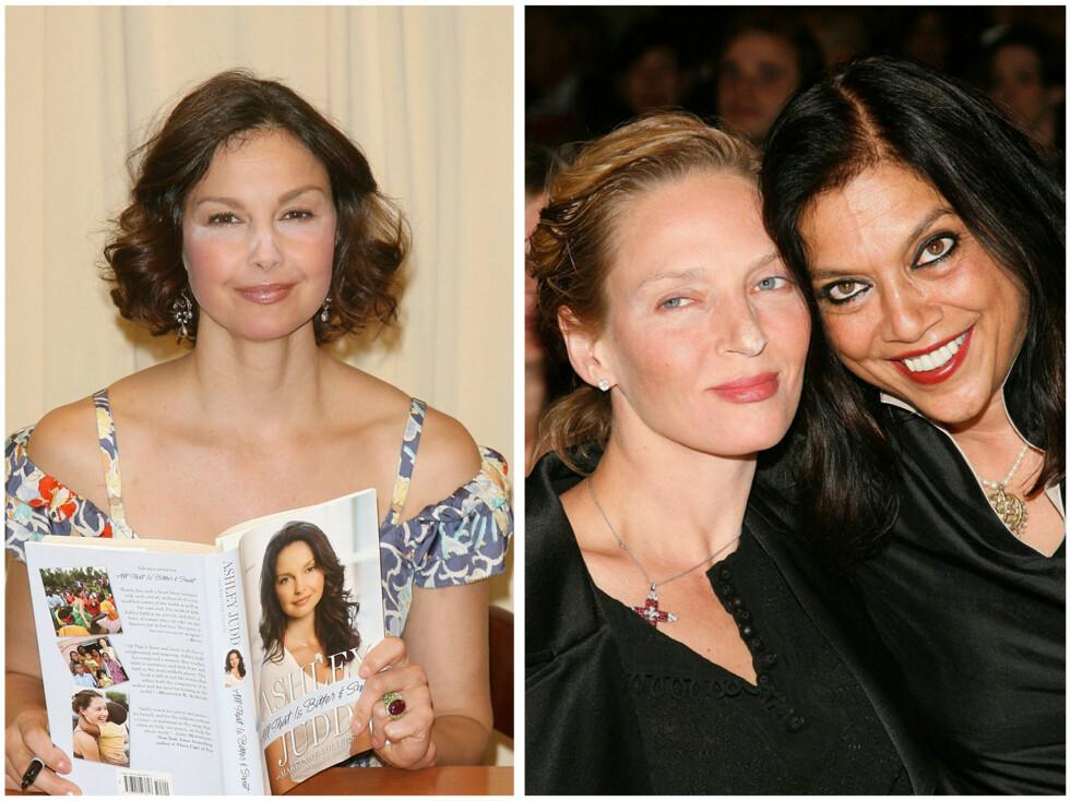 PUDDERTABBE: Ashley Judd og Uma Thurman har brukt for mye concealer og pudder, mens filmprodusent Mira Nair bruker for mye øyesminke under øynene. Foto: All Over Press