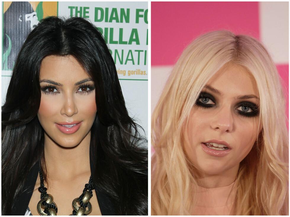 FOR MYE: Kim Kardashians kunstige vipper gjør at det ser ut som hun har edderkopper under øynene. Gossip Girl-stjerne Taylor Momsen bruker for mye sminke under øynene. Foto: All Over Press