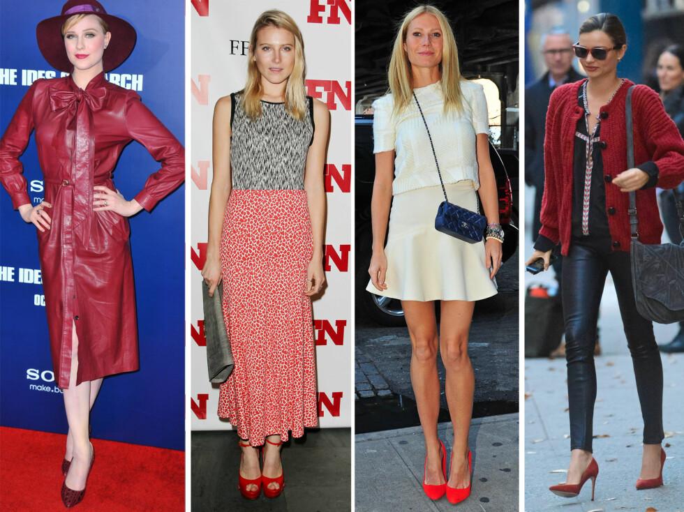 <strong>ELSKER RØDT:</strong> Flere av kjendiskvinnene i Hollywood har valgt røde sko i år. Fra venstre - Evan Rachel Wood, Dree Hemingway, Gwyneth Paltrow og Miranda Kerr.  Foto: All Over Press