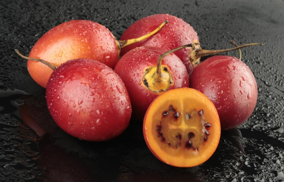 TA DEG EN TAMARILLO: Den ligner veldig på tomaten, men er altså bare en slektning. Foto: Getty Images/iStockphoto