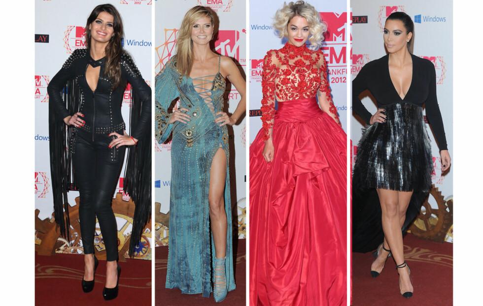 PÅ DEN RØDE LØPEREN: Supermodell Isabeli Fontana, Heidi Klum, Rita Ora og Kim Kardashian på den røde løperen.  Foto: All Over Press