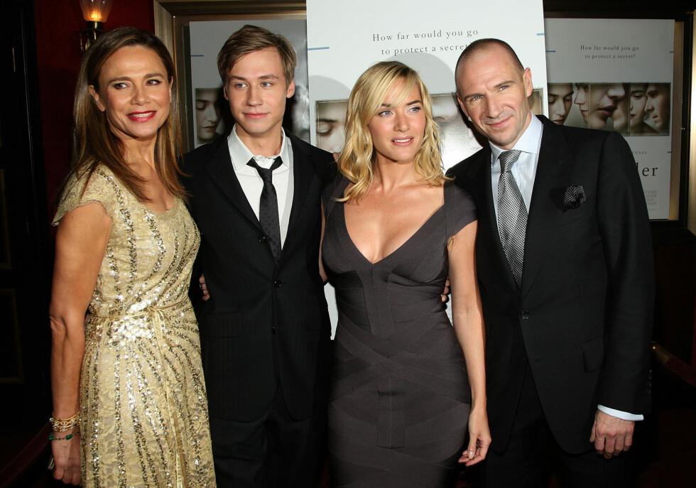 Lena Olin, David Kross, Kate Winslet og Ralph Fiennes på premieren av The Reader. Foto: All Over Press