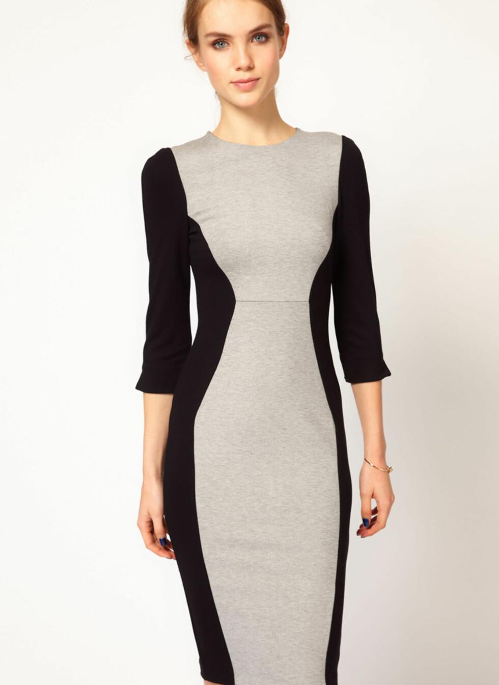 Langermet gråbeige kjole med svarte partier - cirka 330 kroner, Asos.com.  Foto: Produsenten
