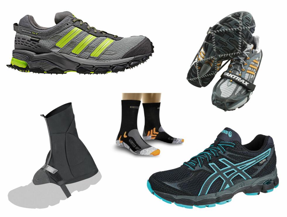 PÅ FØTTENE: Gode sko med Gore-Tex membran kan være lurt for å holde deg tørr på beina. Det samme gjelder for varme sokker og brodder dersom det er snø og kaldt. Øverst fra venstre - Adidas Respons Trail 18 GTX (899 kr, Xxl.no), gamasjer til å ha utenpå skoene (470 kr, Löplabbet.no), varme sokker fra X-Socks (249 kr, Gmax.no), brodder til løpesko fra Yaktrax (300 kr, Löplabbet.no) og løpesko med Gore-tex fra Asics (Gel cumulus 14 GTX, 1199 kr, Xxl.no).  Foto: Produsentene