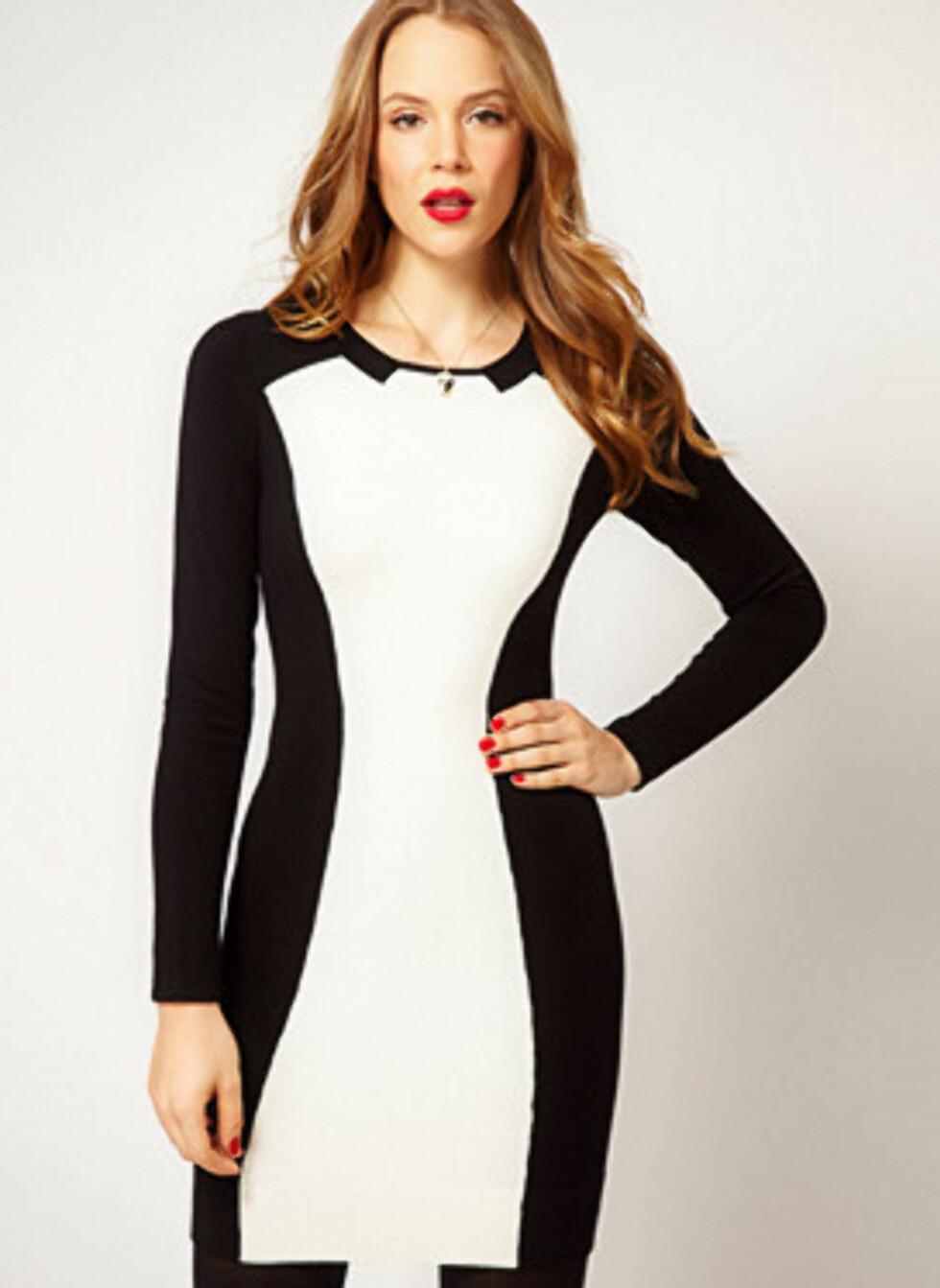 Lekker kjole med krage i svart og hvitt fra Karen Millen. 1141 kroner, Asos.com via Fashionstreet.no.  Foto: Produsenten